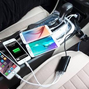 Chargeur Allume-Cigare 4 USB HAWEEL avec Hub Déporté pour Passagers Arrières