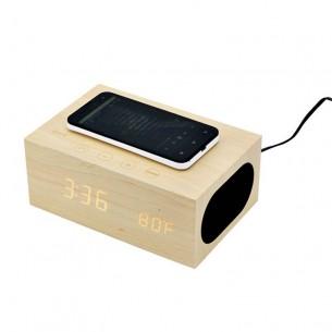Station Réveil X5 - Chargeur Qi Sans Fil Induction - Enceinte Bluetooth - NFC - Thermomètre - Réveil - Coque en Bois Naturel