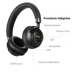 Casque Bluetooth JOYROOM H12 - Hauts Parleurs 40mm HiFi HD - Son Extra Bass - Télécommande sur Écouteur - Microphone Intégré