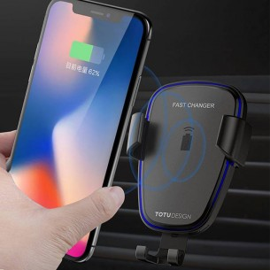 Station de Charge Qi TOTUDESIGN Wit pour voiture - 10W - Rechargement Sans Fil Induction  - Smartphone de 4 à 6,5''