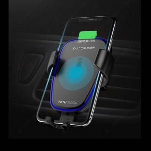 Station de Charge Qi TOTUDESIGN Wit pour voiture - 10W - Rechargement Sans Fil Induction  - Smartphone de 4 à 6,5''
