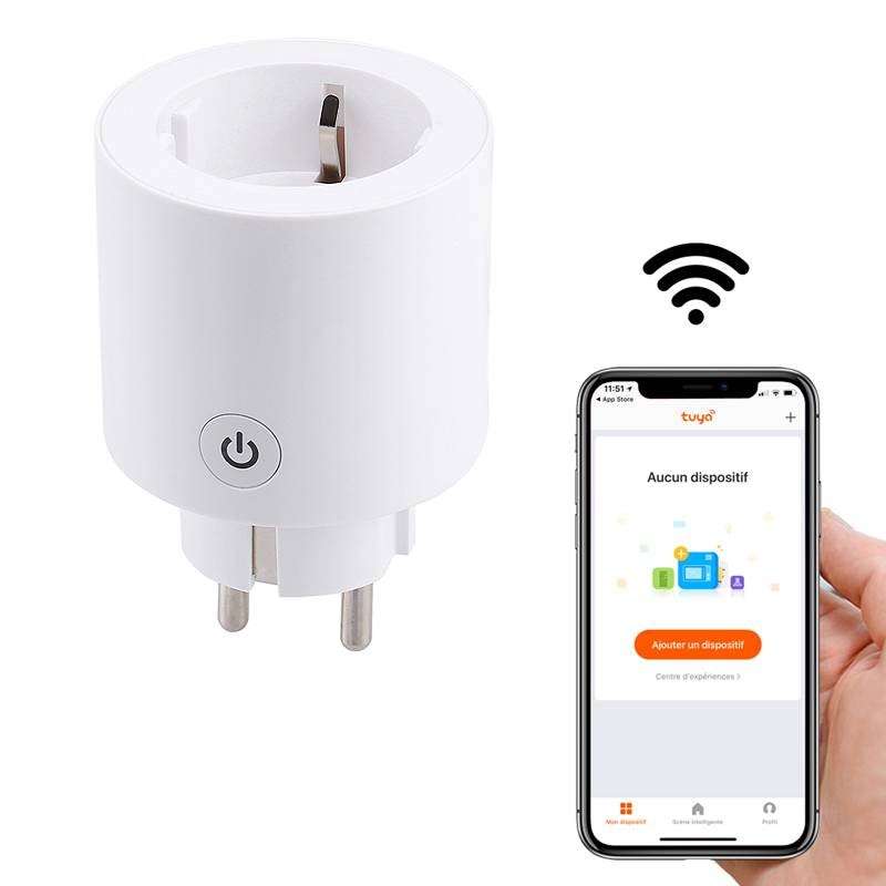 Prise Électrique Connectée WiFi - Application iOS & Android - Programmateur - Compatible Amazon Alexia & Google Assistant