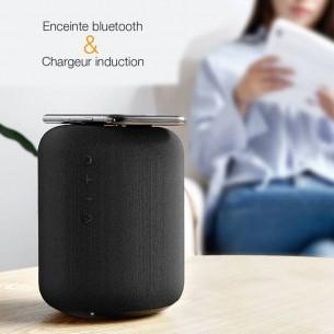 Enceinte Bluetooth & Chargeur BASEUS E50 - Chargeur Qi Sans Fil Induction - Bluetooth 4.2 & NFC