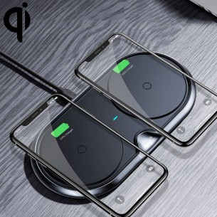 Double Chargeur Qi BASEUS - 5/7,5/10W - Rechargement Sans Fil Induction Universelle
