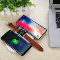 Triple Chargeur Qi N200 - 5/7,5/10W - Rechargement Sans Fil pour 2 Smartphones & 1 Apple Watch