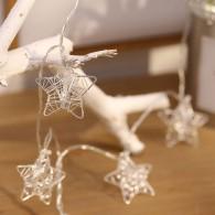 Guirlande Lumineuse Étoiles de Fil Argent - 20 Leds - 3 mètres - Connexion USB