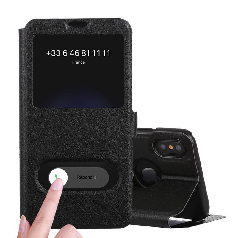 iPhone X & XS - Etui Double Fenêtre d'Appel - Noir