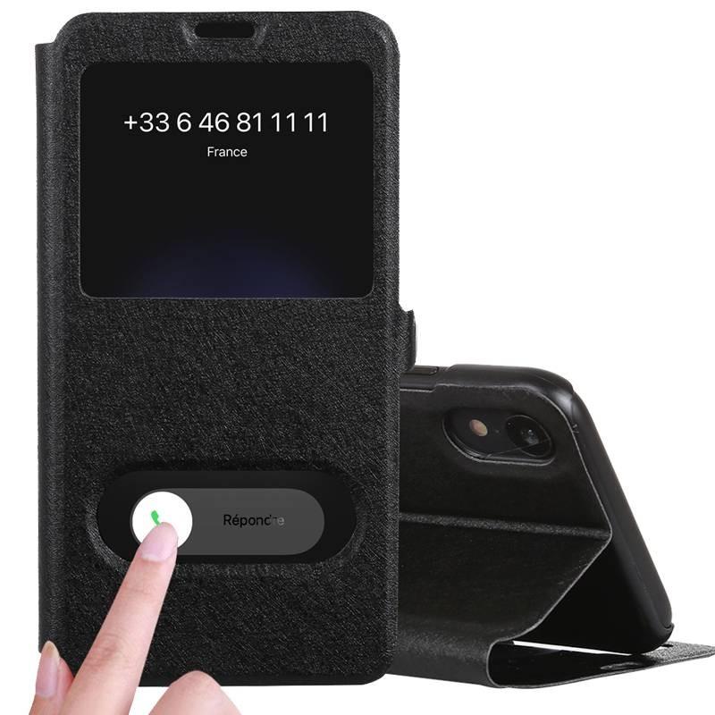 iPhone XR - Etui Double Fenêtre d'Appel - Noir