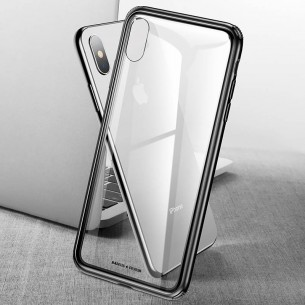 iPhone XS Max - Coque BASEUS en Silicone & Verre Trempé Transparent