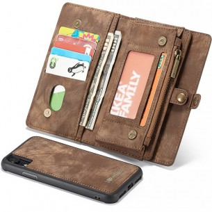 iPhone XR - Étui Portefeuille CaseMe avec Coque Détachable - 11 Pochettes CB + 3 Pochettes Monnaie + 1  Poche Zip