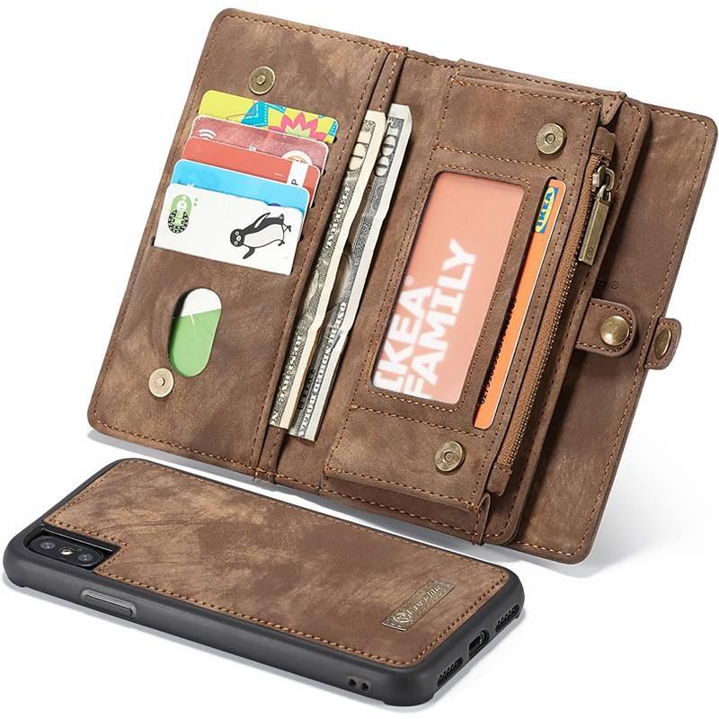 iPhone X & XS - Étui Portefeuille CaseMe avec Coque Détachable - 11 Pochettes CB + 3 Pochettes Monnaie + 1  Poche Zip