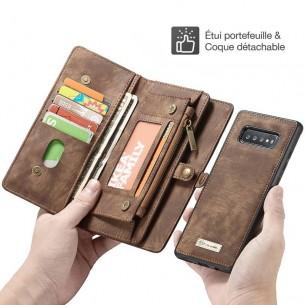 Galaxy S10 Plus - Étui Portefeuille CaseMe avec Coque Détachable - 11 Pochettes CB + 3 Pochettes Monnaie + 1  Poche Zip