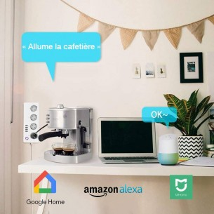 Multiprise WiFi - 4 Prises Electriques 4 Ports USB - Application iOS & Android - Compatible Google Home, Mi Home & Amazon Alexa
