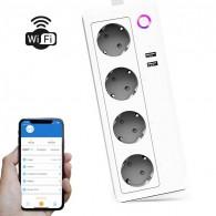 Multiprise Connectée WiFi - 4 Électriques & 2 USB - Application iOS & Android - Compatible Google Home, Mi Home & Amazon Alexa