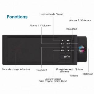 Enceinte Bluetooth Multifonction S91s - Chargeur Qi Sans Fil Induction - Horloge Ecran & Projecteur - Réveil - Radio FM