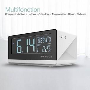 Station Réveil MOMAX Q.Clock - Chargeur Qi Sans Fil Induction - Horloge LCD - Réveil - Thermomètre - Veilleuse