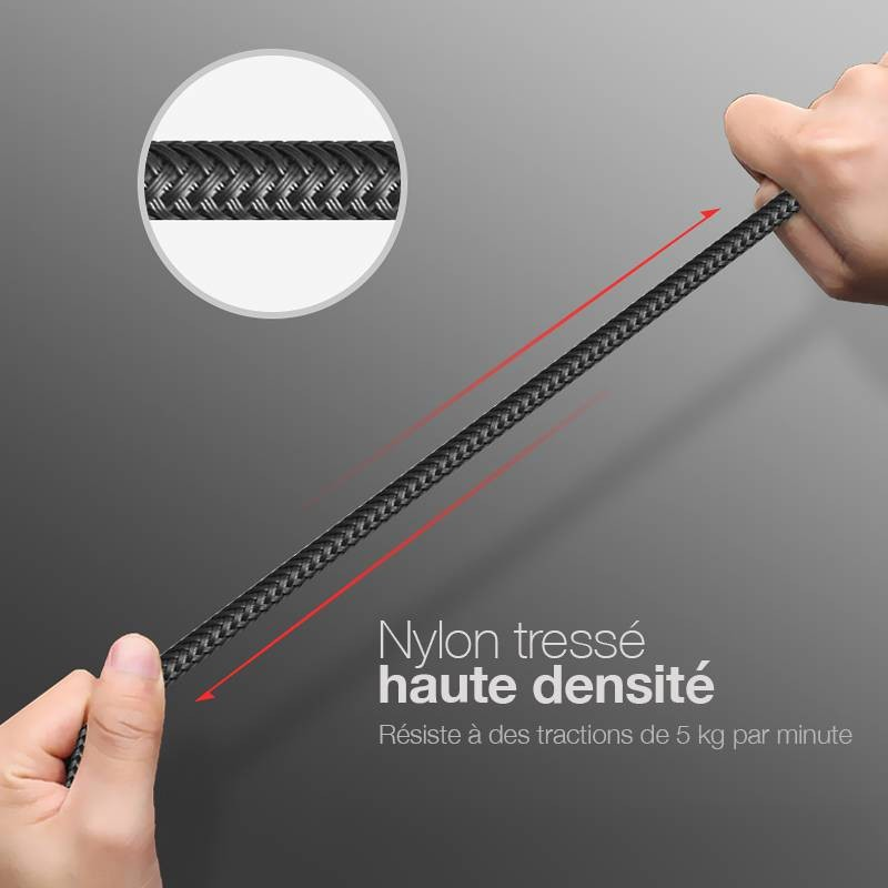 Câble Lightning MOMAX Tough Link 2,4A - Certifié MFi - Gainage Nylon Tissé -