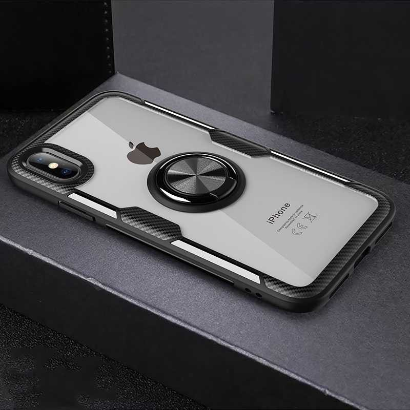iPhone XS Max - Coque Chevalet Transparente - Contour Silicone - Dos Magnétique