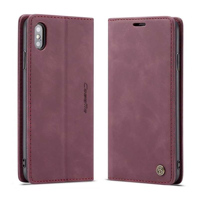 iPhone X & XS - Étui Portefeuille CaseMe - Imitation Daim - Pochettes CB