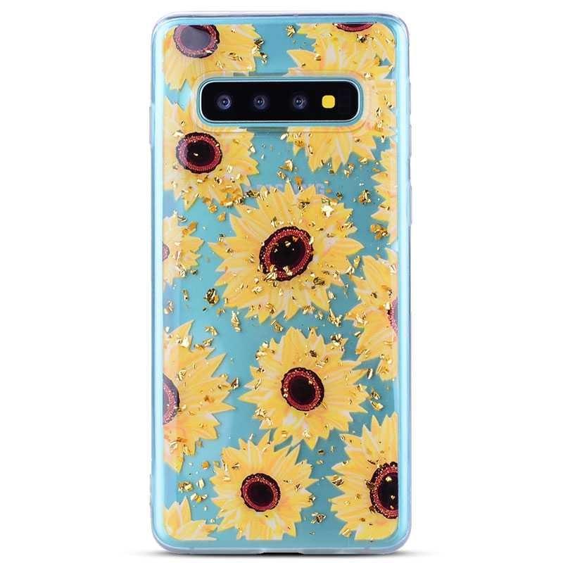 Galaxy S10 Plus - Coque TPU Transparente avec Motif Tournesols