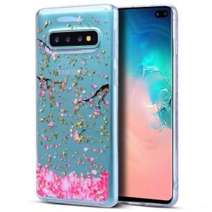 Galaxy S10 Plus - Coque TPU Transparente avec Motif Cerisiers Sakura