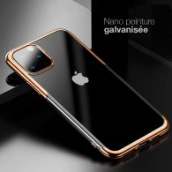 iPhone 11 Pro Max - Coque BASEUS Shining Series - TPU Souple Transparent - Contour Galvanisé