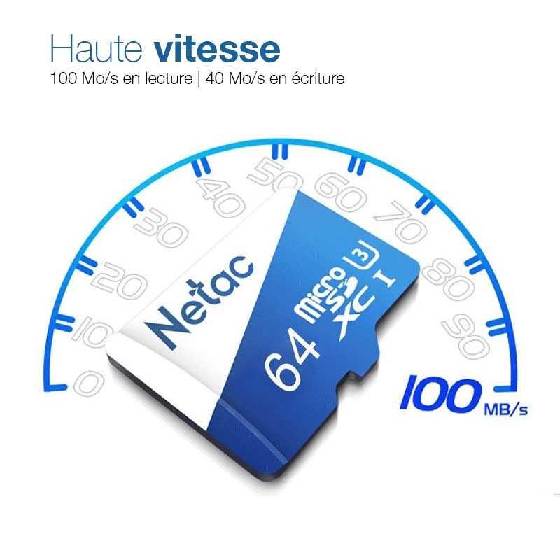 Carte MicroSD NETAC P500 64GB - Classe 10 - SDXC UHS-1 U3