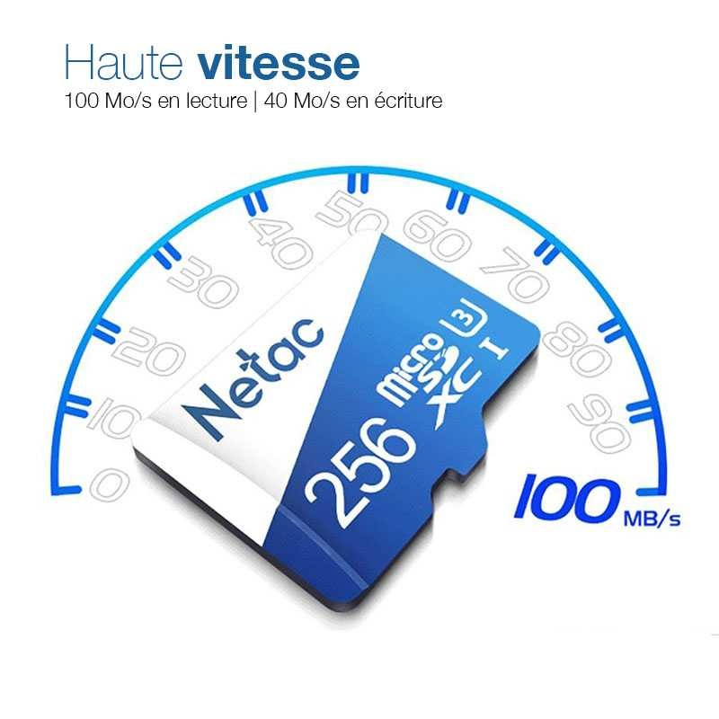 Carte MicroSD NETAC P500 256GB - Classe 10 - SDXC UHS-1 U3
