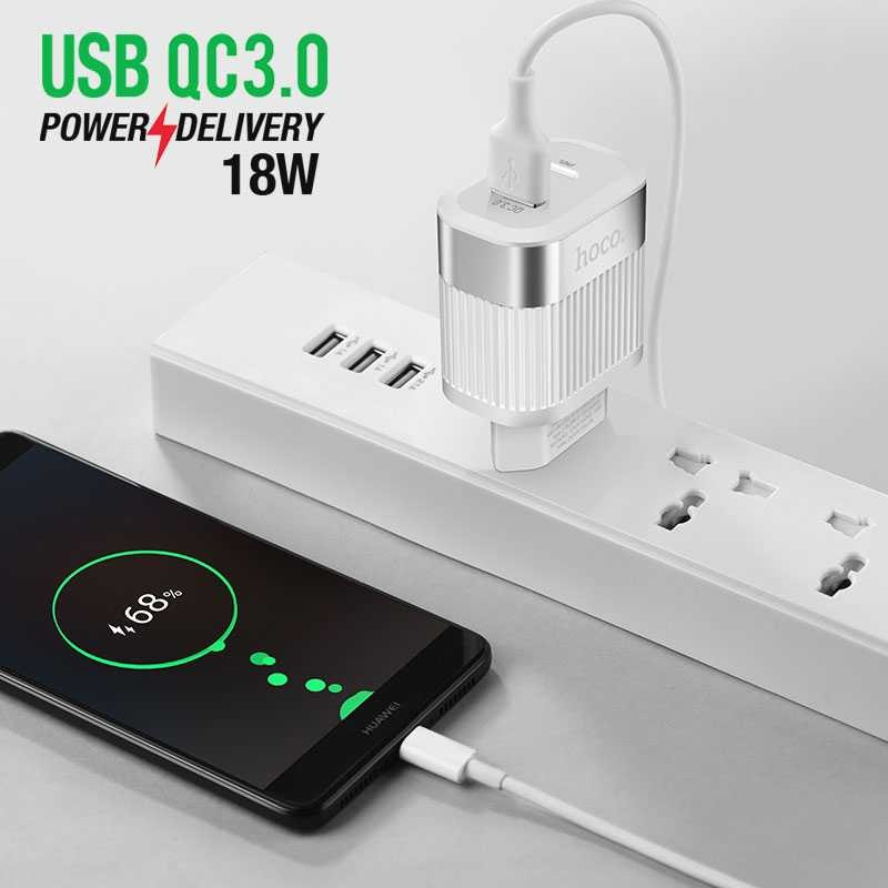 Chargeur HOCO C58A avec 2 Ports USB 18W - Charge Rapide Power Delivery & Quick Charge 3.0