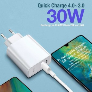Chargeur BASEUS Speedy Series PPS - 2 Ports USB 30W - Power Delivery 3.0 & Quick Charge 4.0+