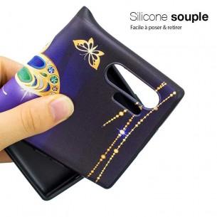 Galaxy Note 10 Plus - Coque Silicone avec Motif Papillon