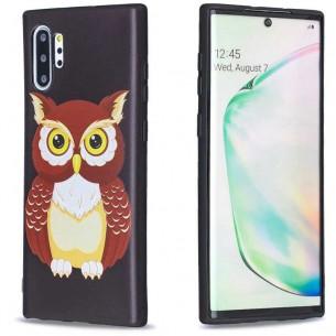 Galaxy Note 10 Plus - Coque Silicone avec Motif Chouette