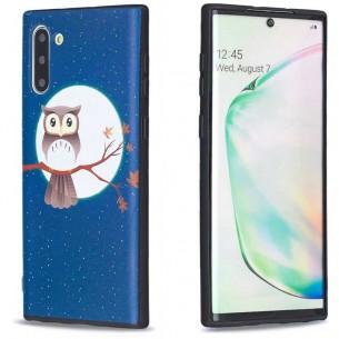 Galaxy Note 10 - Coque Silicone avec Motif Chouette sur Branche