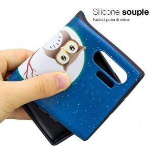 Galaxy Note 10 Plus - Coque Silicone avec Motif Chouette sur Branche