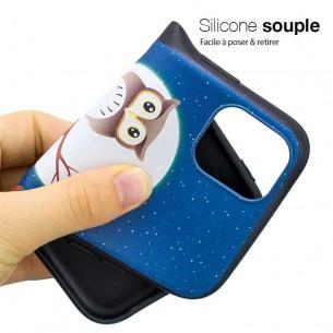 iPhone 11 Pro Max - Coque Silicone avec Motif Chouette sur Branche