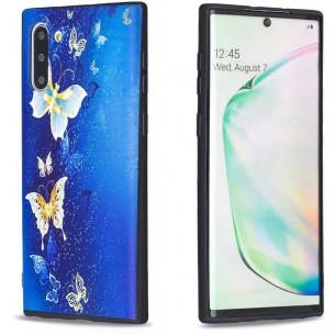 Galaxy Note 10 - Coque Silicone avec Motif Papillons Bleus