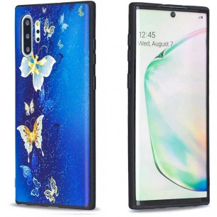 Galaxy Note 10 Plus - Coque Silicone avec Motif Papillons Bleus