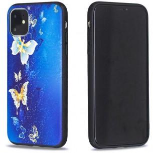 iPhone 11 - Coque Silicone avec Motif Papillons Bleus