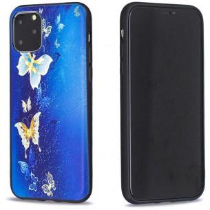 iPhone 11 Pro - Coque Silicone avec Motif Papillons Bleus