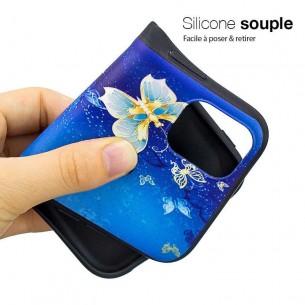 iPhone 11 Pro Max - Coque Silicone avec Motif Papillons Bleus