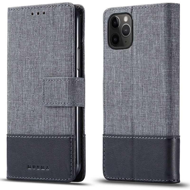 iphone 11 pro etui portefeuille muxma bi matiere avec pochettes cb