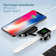 Double Chargeur Qi USAMS CD89 pour Smartphone & Apple Watch - Charge Rapide 5/7,5/10W -