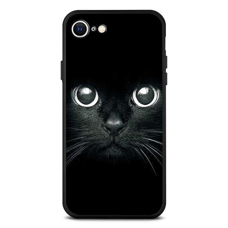 Coque Silicone avec Motif Regard de Chat pour iPhone SE 2020